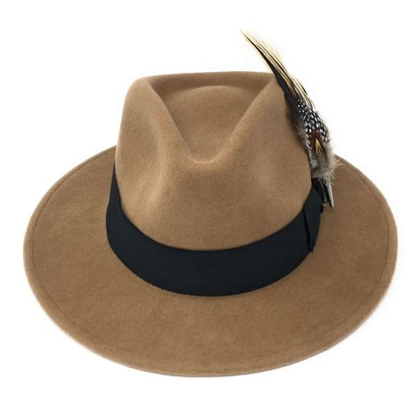 Beige Showerproof Wool Fedora Hat with Country Feather Brooch - Burford
